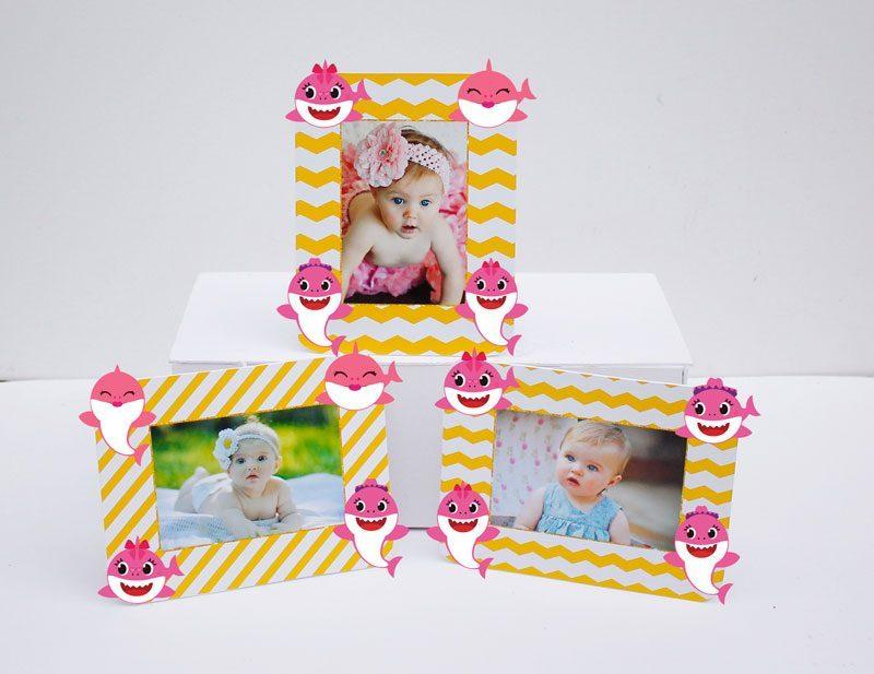 Set khung hình sinh nhật Baby Shark Girl màu vàng zigzag