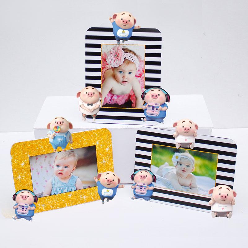 Set khung hình Heo Trai đồ sinh nhật màu đen kim tuyến