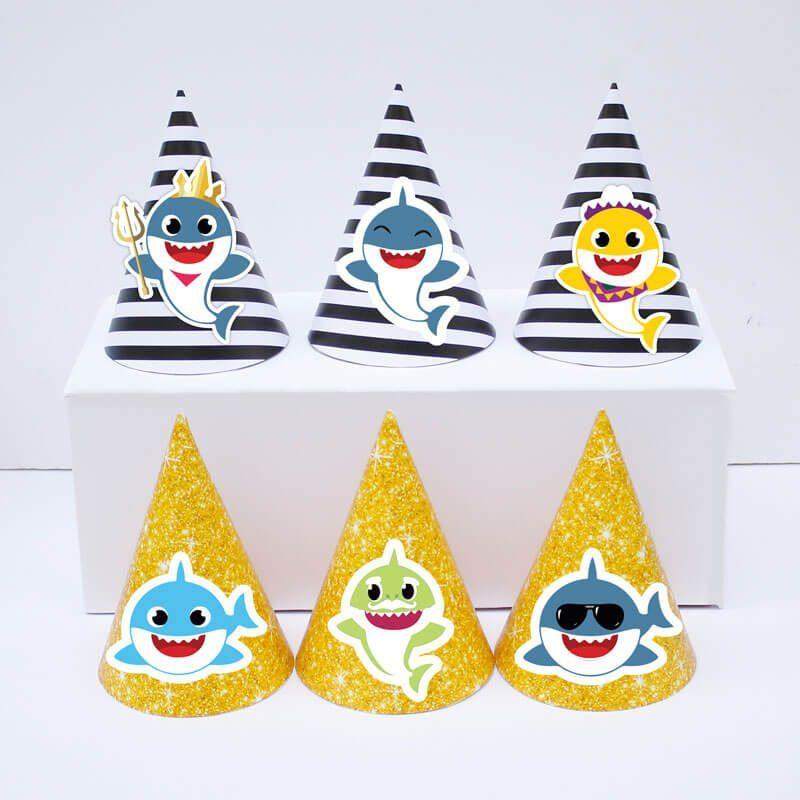 Set nón sinh nhật Baby Shark boy màu đen kim tuyến