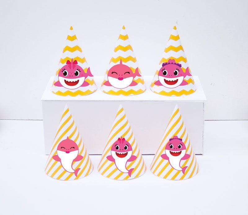 Set nón sinh nhật baby shark girl màu vàng zigzag