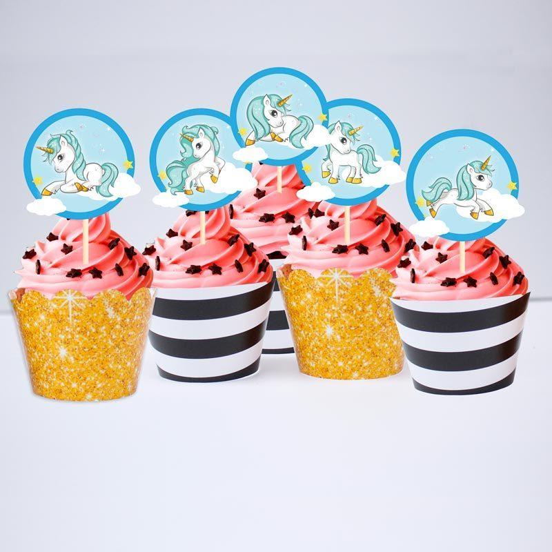 Set bánh Cupcake Unicorn Boy màu đen im tuyến