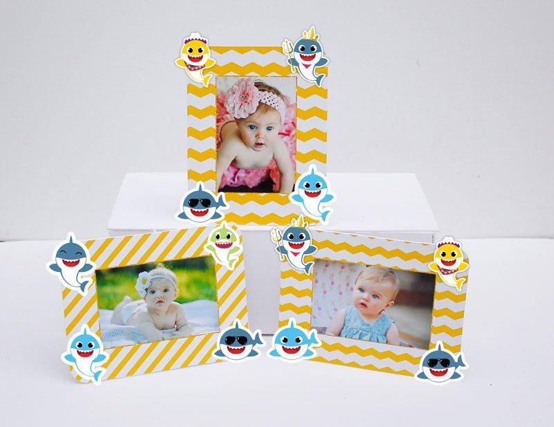 Set khung hình sinh nhật Baby Shark boy màu vàng zigzag