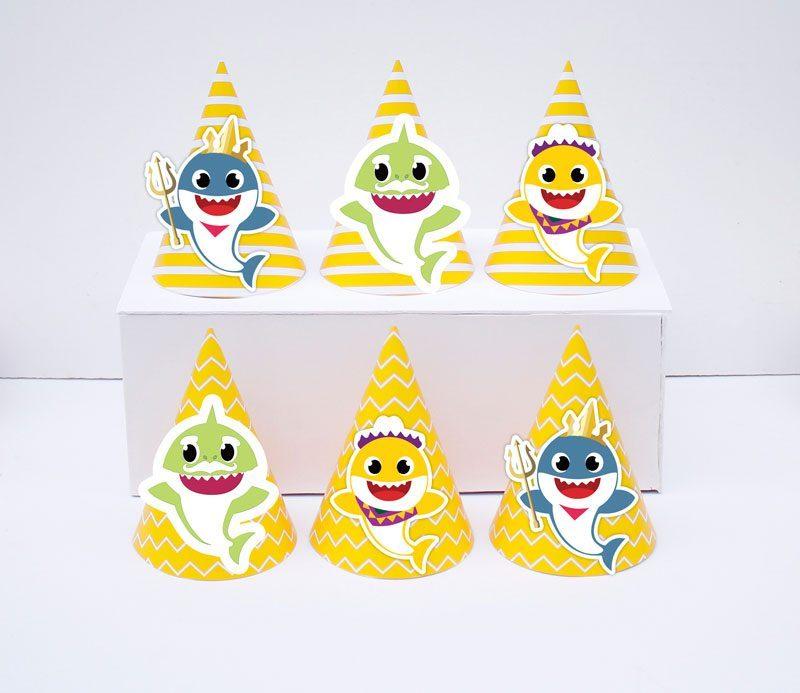 Set nón sinh nhật Baby Shark Boy màu vàng hoàng gia