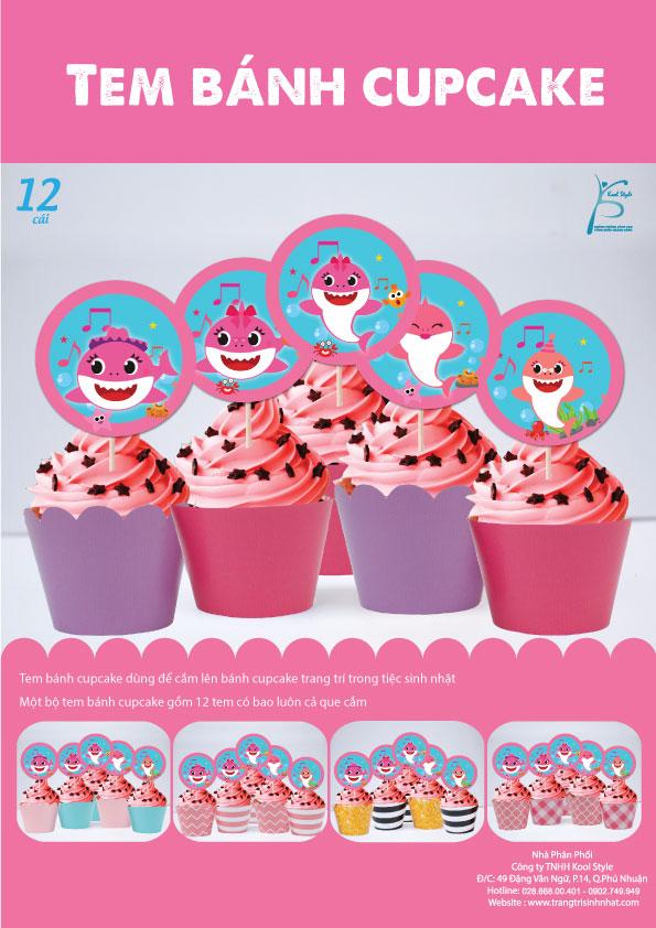 Bìa tem bánh cupcake Baby Shark Girl