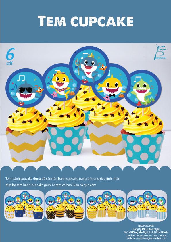 Bìa tem bánh cupcake Baby Shark Boy