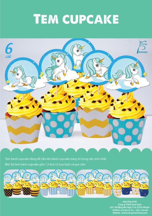 Bìa tem bánh cupcake Unicorn Boy