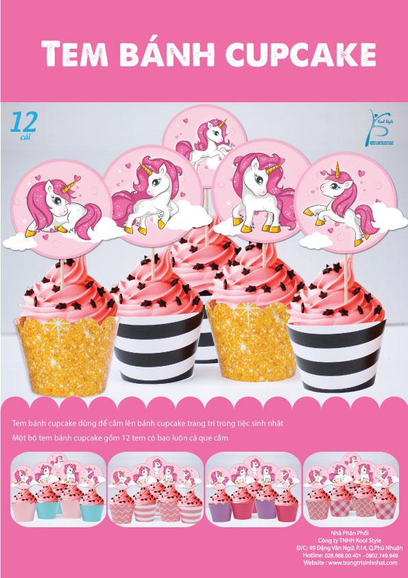 Bìa tem bánh cupcake Unicorn Girl