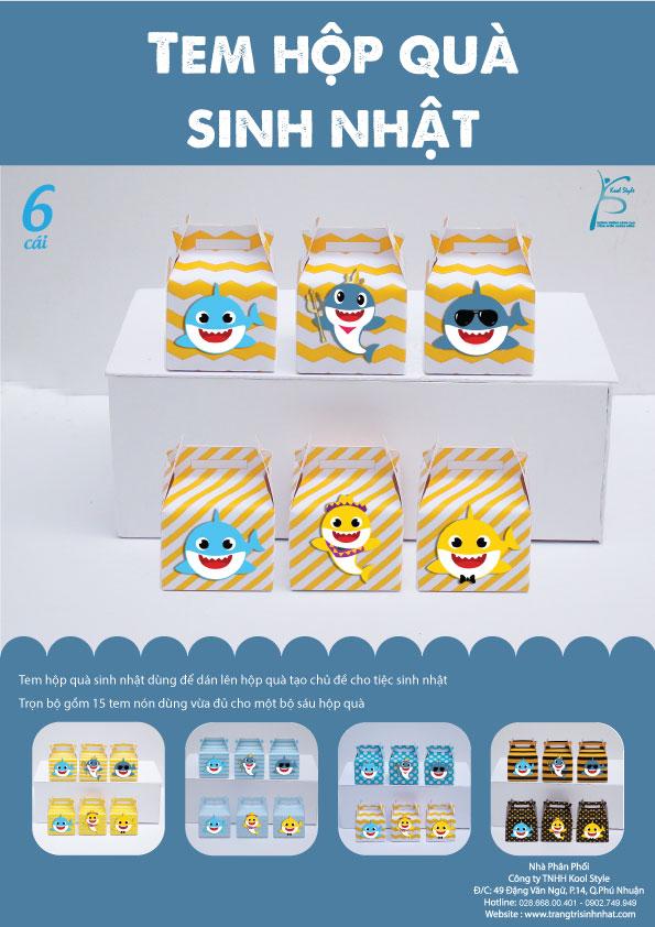 Bìa tem hộp quà sinh nhật Baby Shark Boy