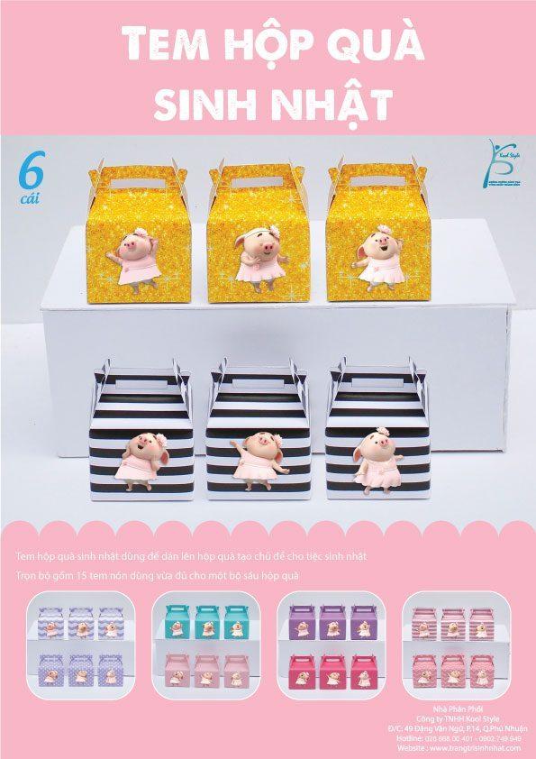 Bìa tem hộp quà sinh nhật bé heo gái