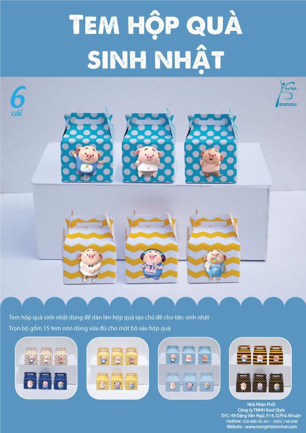 Bìa tem hộp quà sinh nhật bé heo trai