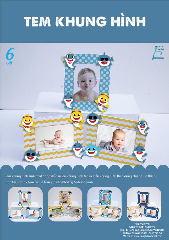 Bìa tem khung hình sinh nhật Baby Shark Boy
