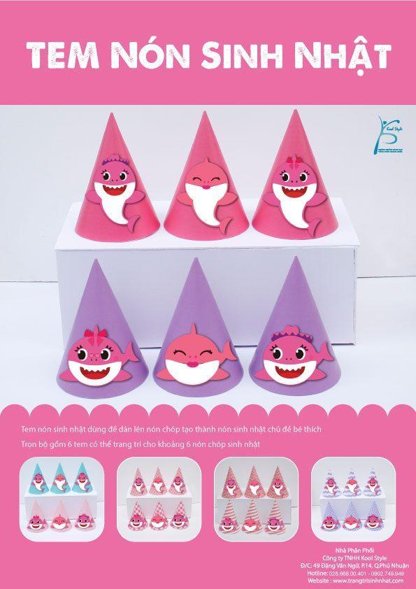 Bìa tem nón sinh nhật Baby Shark Girl