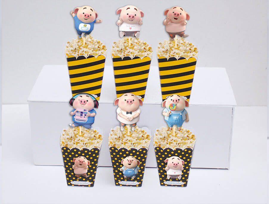 Set hộp bắp sinh nhật Heo Trai màu vàng đen