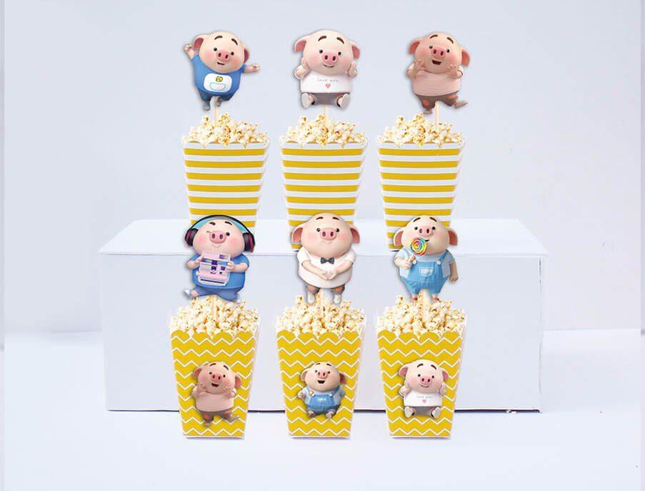 Set hộp bắp sinh nhật Heo Trai màu vàng hoàng gia