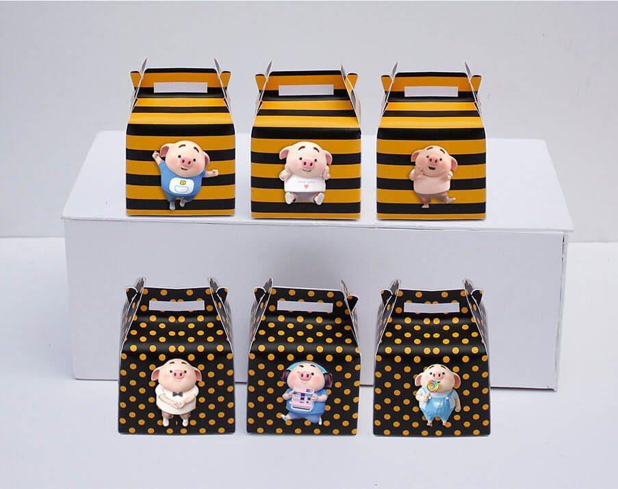 Set hộp quà sinh nhật Heo Trai màu vàng đen