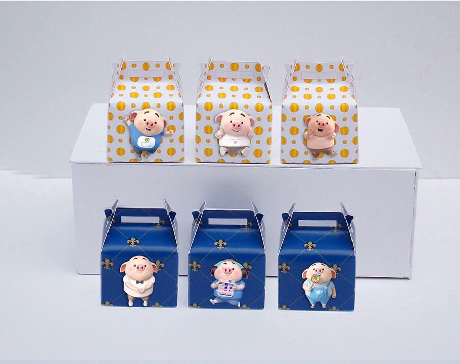 Tem hộp quà sinh nhật bé heo trai màu xanh hoàng gia