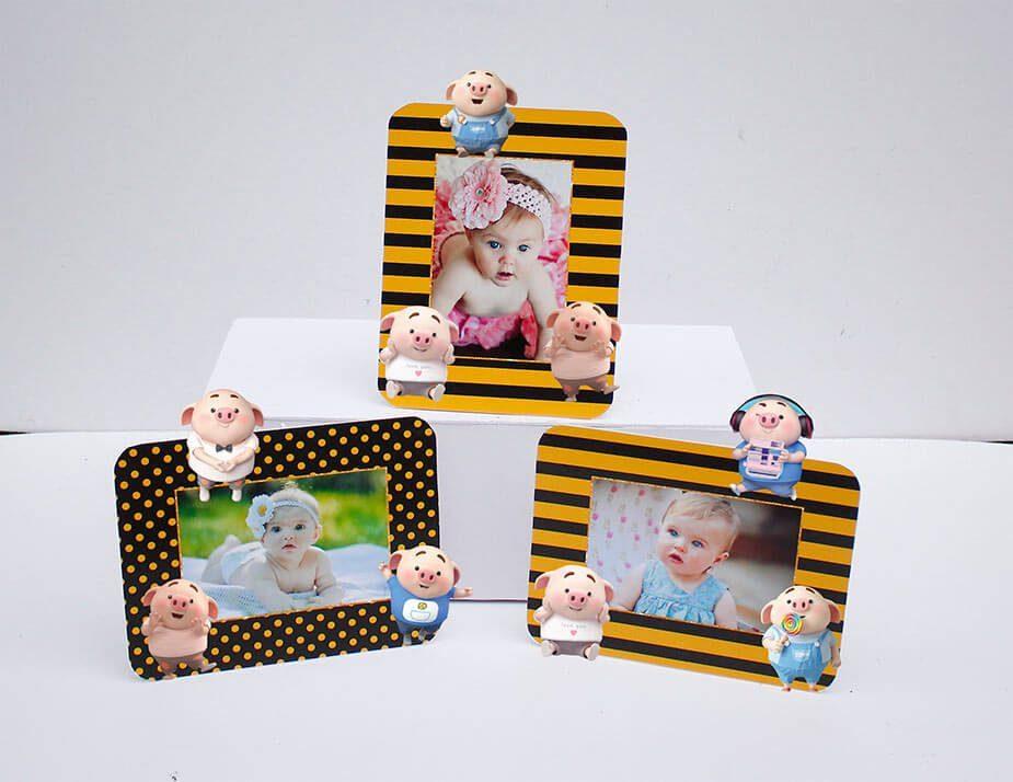 Tem khung ảnh sinh nhật bé heo trai màu vàng đen