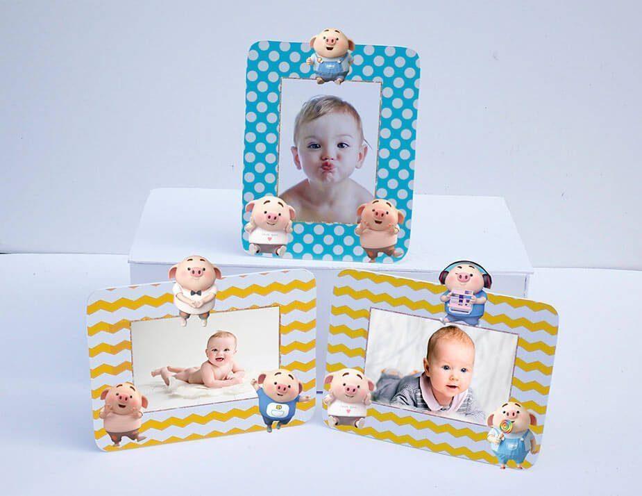 Tem khung ảnh sinh nhật bé heo trai màu xanh min vàng