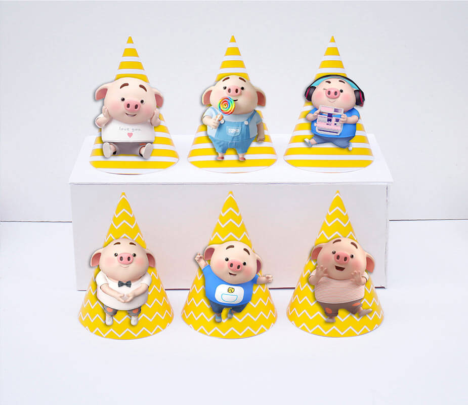 Tem nón sinh nhật bé trai tuổi heo màu vàng hoàng gia