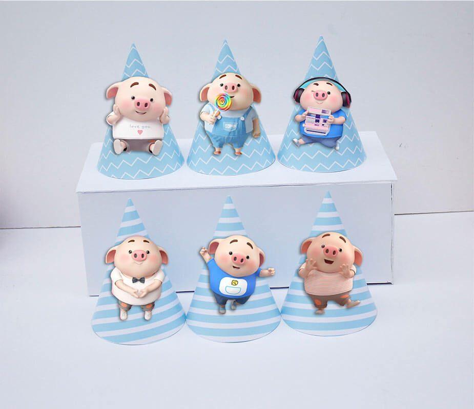 Set nón sinh nhật Heo Trai màu xanh da trời