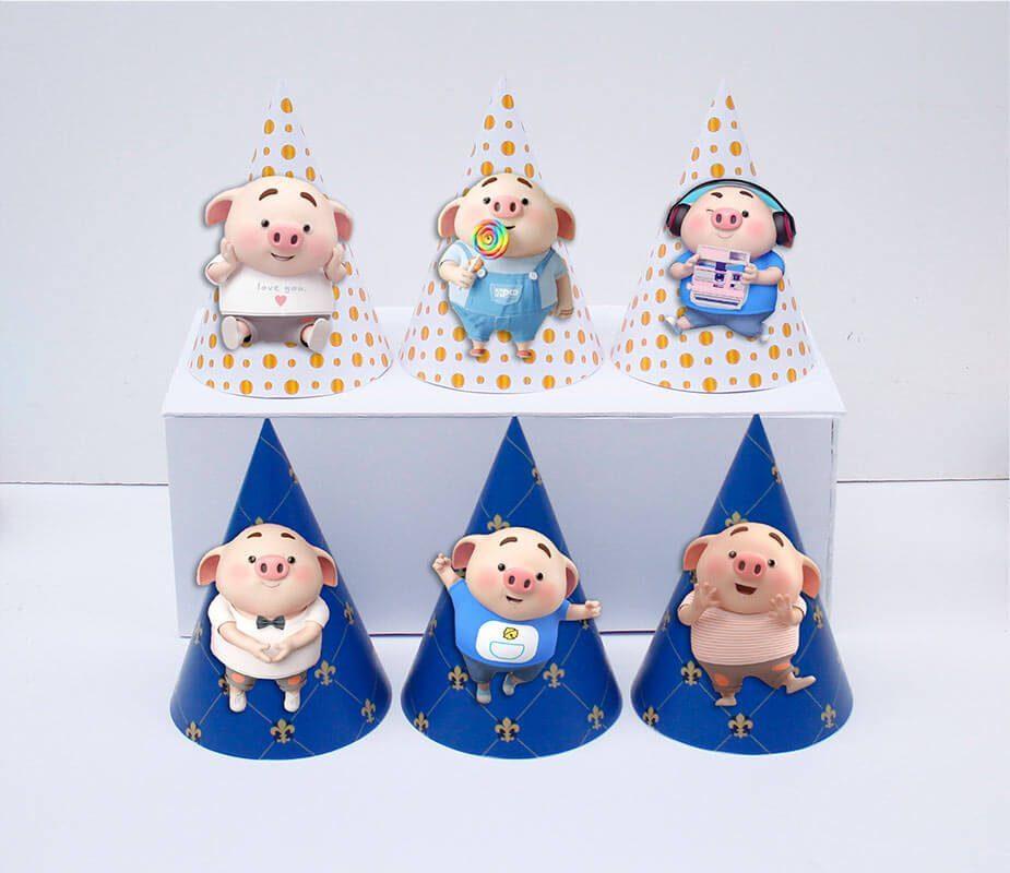 Tem nón sinh nhật bé trai tuổi heo màu xanh hoàng gia