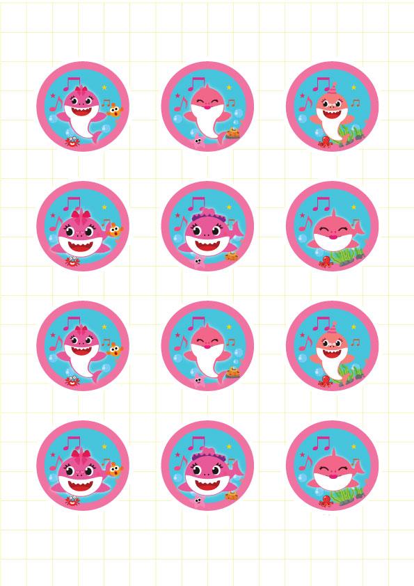 Ruột bộ tem bánh cupcake Baby Shark Girl