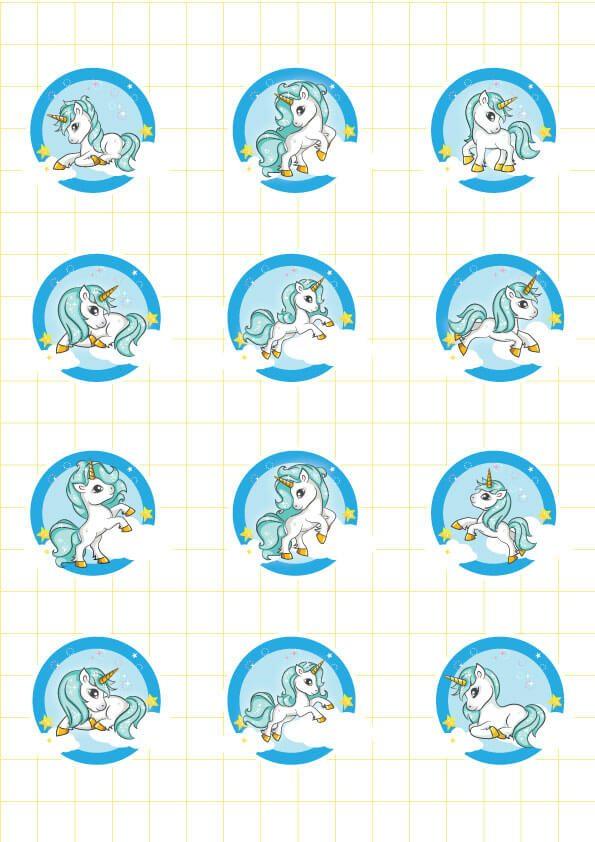 Ruột bộ tem bánh cupcake Unicorn Boy