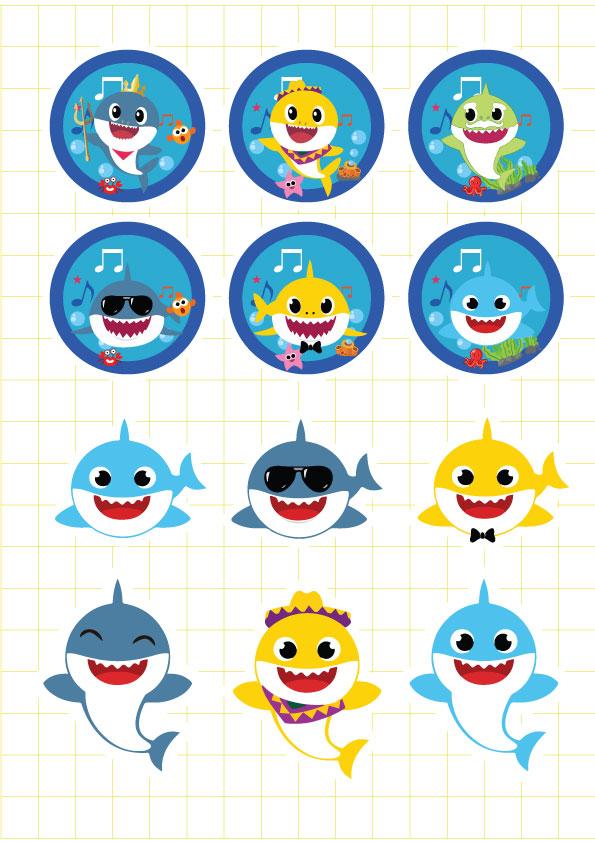 Ruột bộ tem hộp bắp rang Baby Shark Boy