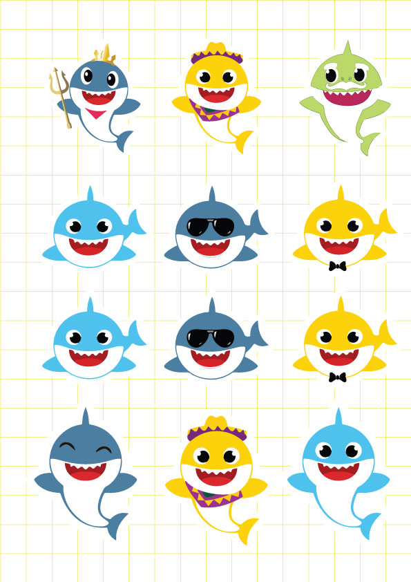 Ruột bộ tem khung hình sinh nhật Baby Shark Boy