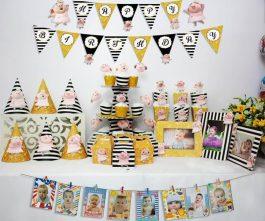 set đồ sinh nhật heo gái màu đen kim tuyến