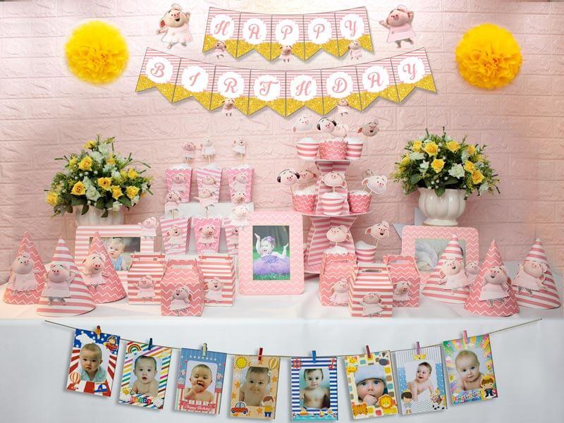 set đồ sinh nhật heo gái màu hồng hoàng gia