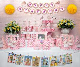 set đồ sinh nhật heo gái màu hồng lưới