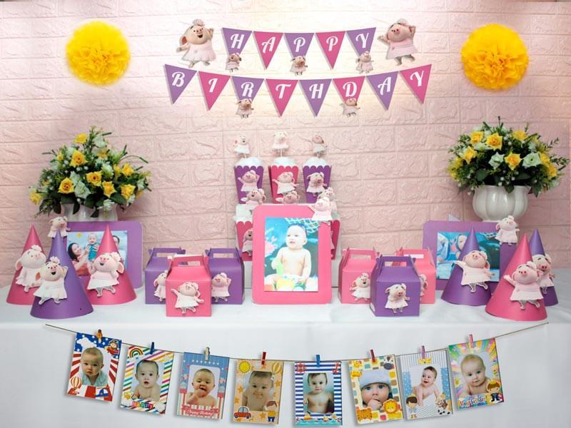 set đồ sinh nhật heo gái màu hồng tím