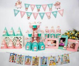 set đồ sinh nhật heo gái màu hồng xanh min