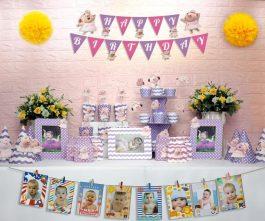 set đồ sinh nhật heo gái màu tím chấm bi