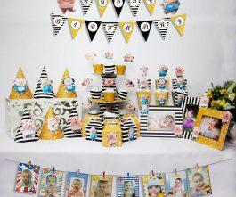 set đồ sinh nhật heo trai màu đen kim tuyến