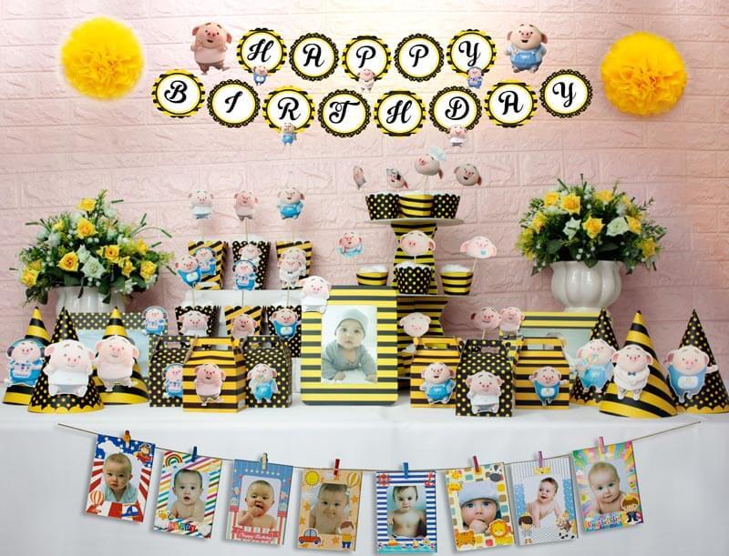 set đồ trang trí sinh nhật heo trai màu vàng đen