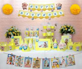 set đồ sinh nhật heo trai màu vàng hoàng gia