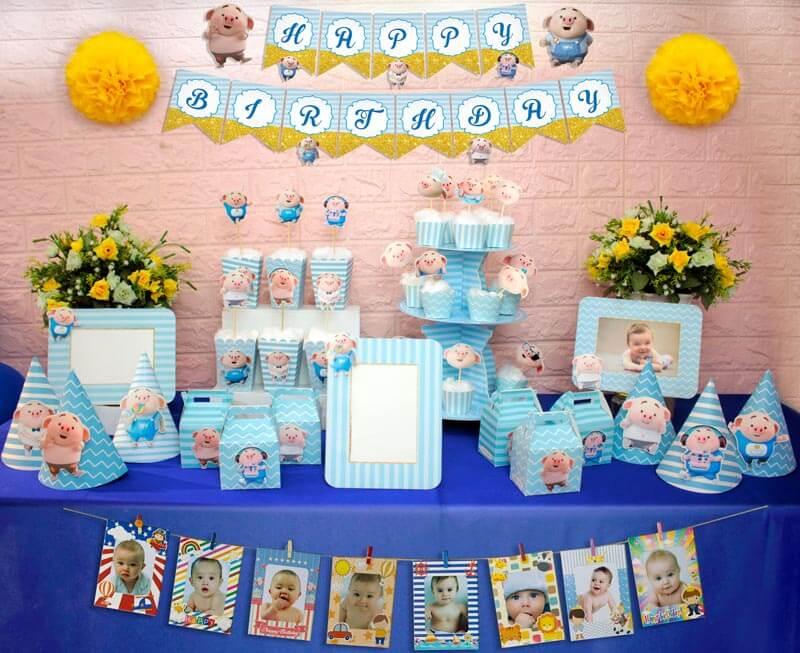 set đồ sinh nhật heo trai màu xanh da trời