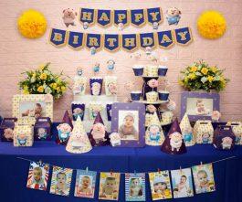 set đồ sinh nhật heo trai màu xanh hoàng gia