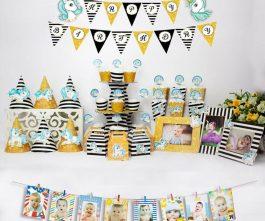 set đồ trang trí sinh nhật unicorn màu đen kim tuyến