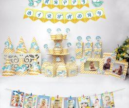 set đồ trang trí sinh nhật unicorn màu vàng hoàng gia