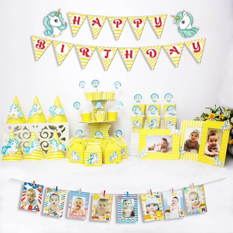 set đồ trang trí sinh nhật unicorn màu vàng zigzag