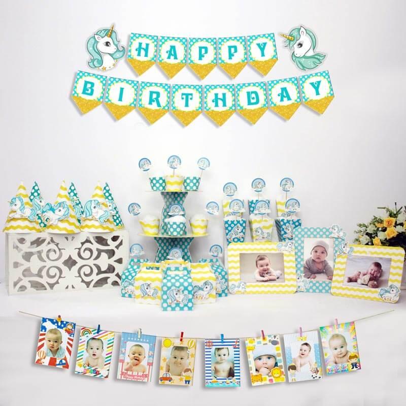 set đồ sinh nhật unicorn màu xanh min vàng