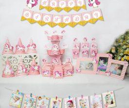 set đồ trang trí sinh nhật unicorn màu hồng hoàng gia