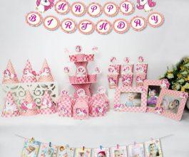 set đồ trang trí sinh nhật unicorn màu hồng lưới