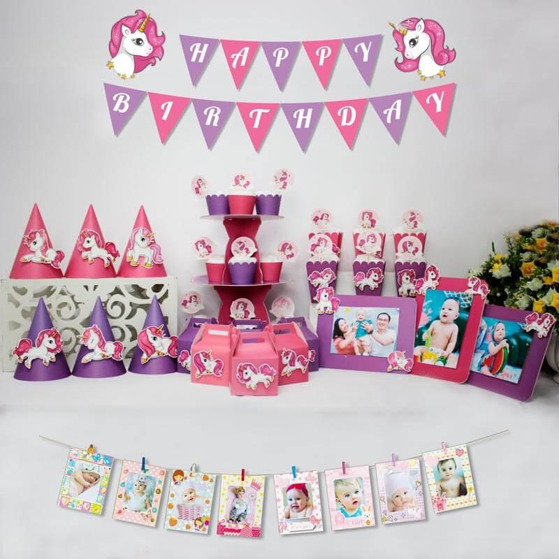 set đồ trang trí sinh nhật unicorn màu hồng tím