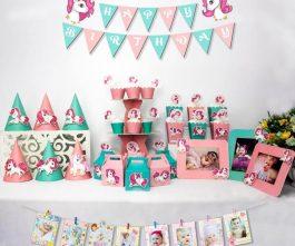 set đồ trang trí sinh nhật unicorn màu hồng xanh min