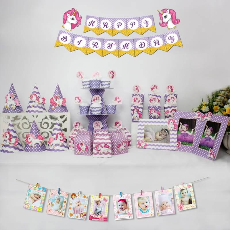 set đồ trang trí sinh nhất unicorn màu tím chấm bi