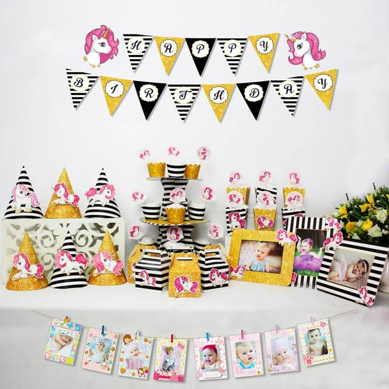 set đồ trang trí sinh nhật unicorn màu vàng đen